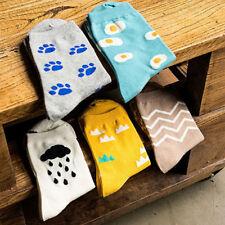 Women Cute Cartoon Footprint Poached Egg Cotton Mid-calf Socks Ankle Socks R