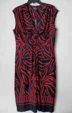NWT Glamour Womens Sz 16 Ruched Dresses Sleeveless Black Red Polyester Spandex