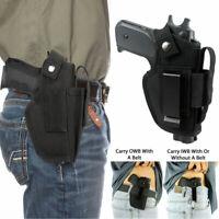 Universal IWB OWB Tactical Gun Holster w/ Mag Pouch Fit Most Gun Sizes Slot Belt