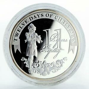 Niue 2 dollars Christmas Pipers Piping proof silver coin 2009