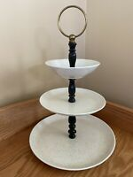 Vintage 3-Tier Tidbit Tray Dessert Stand George JAPAN Speckled Stoneware EUC