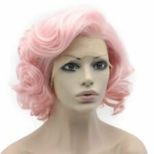 Short Curly Hand Tied Lace Front Synthetic Hair Stylish Pink Wig