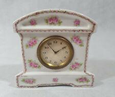 Vintage Floral Ceramic Mantel Clock, Collectable