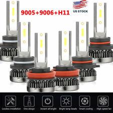 3pairs Mini 9006+9005+H11 LED Headlight Bulb 4500W 600000LM Hi-Lo Beam Kit 6000K