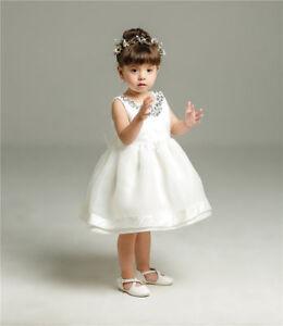 Newborn Baby Girls White Christening/Birthday/Prom Tutu Party Princess Dress 02