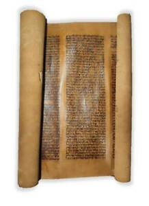 Ancient Bible Jewish Torah scroll Manuscript 19th century ספר תורה Judaica Hebr