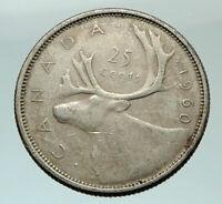 1960 CANADA United Kingdom Queen Elizabeth II CARIBOU Silver 25 Cent Coin i75784