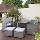 Grey 8 Seater Garden Furniture Rattan Dining Set, Grey Cushion