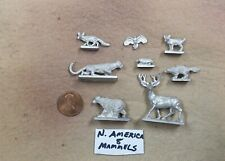 25mm Ral Partha North American mammals (8) Buck, cougar, bear, fox, hawk, etc.