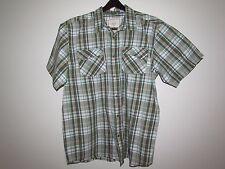 Men's PrAna Shirt -Size  XL Button Front Short Sleeve Plaid  96% Cotton