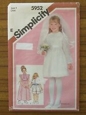 SIMPLICITY PATTERN - 5952 GIRL'S DRESS COMMUNION VEIL SIZE 4 UNCUT