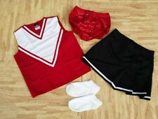 Girl L Red Black Cheerleader Uniform Top Skirt Socks Sequin Briefs 28-30/25-27""