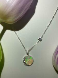 Opal Moon and Star Necklace