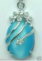 Exquisite Silver color blue Opal Oval bead Gemstone Pendants Necklace
