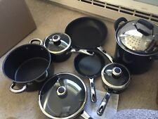 11 Piece Set Of Farberware Black Metallic Cookware