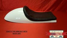 VINCENT STYLE FIBREGLASS CAFE RACER SEAT FINISHED IN BLACK WITH BASIC BLACK PAD