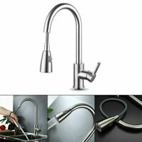 Kitchen Sink Faucet Swivel Spout Single Hole Pull Out Mixer Tap Brushed Nickel