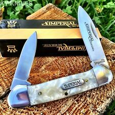 """Imperial SCHRADE Cracked Ice Pearl 3.6"""" Large CANOE Pocket Knife New! IMP11-F"""