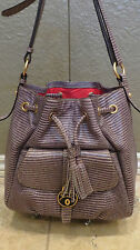 Dooney and Bourke Samba Leather Drawstring Bag SMOKE