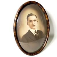ANTIQUE TIGER WOOD OVAL CONVEX BUBBLE GLASS PICTURE FRAME OLD PHOTO 20.75x14.75""