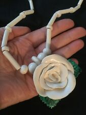 """PARROT PEARLS White & Green Ceramic Flower w/Beads Necklace, 23.5"""""""