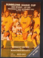 Torquay United v Manchester City 26/9/90 Rumbelows Cup Round 2 Programme