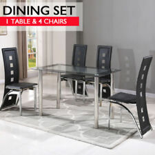 Leather Modern Dining Furniture Sets with 5 Pieces