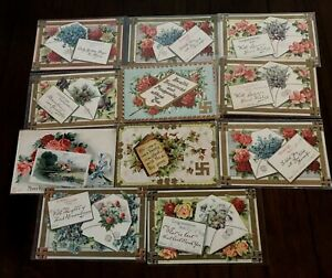Lot of 11 Antique~ Good Luck Swastika~ Greetings Postcards-Swastika-1900's-h558