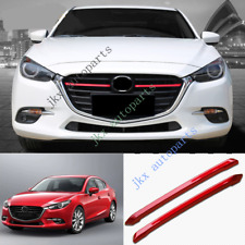 2x Red Front Bumper Vent Center Grille k Grill Trim For Mazda 3 Axela 17-18