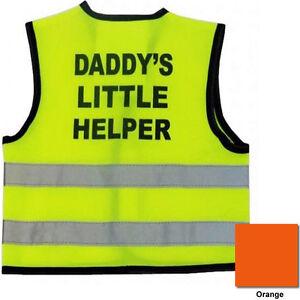 HiVis Baby Vest DADDY'S LITTLE HELPER Orange Yellow Size 0-6, 6-12, 12-24 months