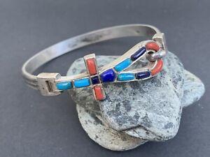 Egyptian Ankh 900 Silver Cairo 1975 Hallmark Coral Lapis Turquoise Bracelet