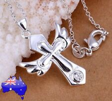 Stunning 925 Sterling Silver Crystal Cross Angel Wings Pendant Necklace Gift New