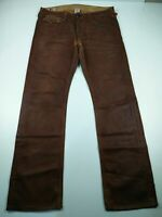 MENS TRUE RELIGION RICKY W36 L34 BROWN REGULAR FIT WET LOOK DENIM JEANS TROUSERS