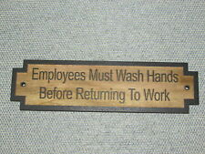 """Restroom Rustic Wood Sign """"Employees Must Wash Hands Before Returning To Work"""""""