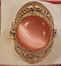 14k  Gold Plated Peach Cat's Eye w/ Crystals Ring Size 8