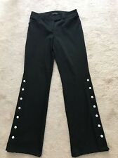 Moda International Black Wool Blend Side Buttons Dress Pants Sz 4