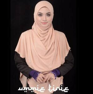 Beige Aryana-Instant-Hijab-Long-Khimar-One-Piece-Slip-On-Pinless Scarf-Jilbab