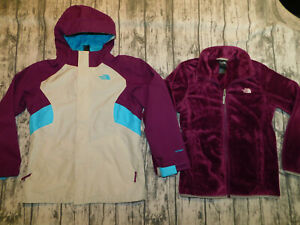 NORTH FACE JACKET TRICLIMATE 3 IN 1 W FLEECE LINER HOOD FALLON GIRL'S L 14 16