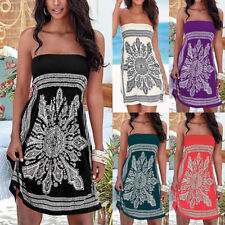 Women Floral Summer Strapless Ladies Boobtube Bandeau Mini Swing Beach Dress Top