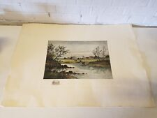 """Antique """"Quiet Streams"""" Colored Engraving After Carl Philipp Weber"""