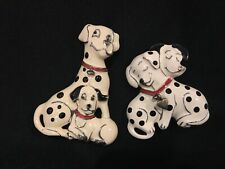 2 VTG Kerissa Signed Dalmatian Dog Brooches Pins Red Black White Enamel