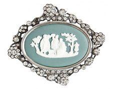 Boxed Wedgwood Teal Green Brooch Silver Mount Teal Green Jasperware Jewellery