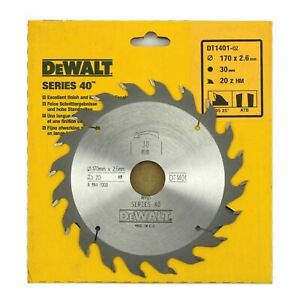 Dewalt DT1401 Series 40 170mm x 30mm 20T TCT Circular Saw Blade for Wood & PVC