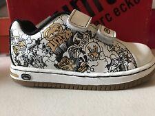 Skateboard Sneakers Marc Ecko Vintage White/Black Cartoon Little Boys Size 7 1/2