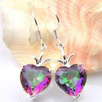 Unique Gift Love Heart Rainbow Mystic Topaz Gemstone Silver Dangle Hook Earrings