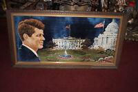 Vintage President John Kennedy JFK Framed Latch Hook Rug Art White House Large