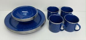 12-Piece - Blue Speckeled Enamel Ware Camping - (Set of 4) Plates, Bowls, & Cups