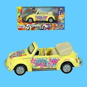 Maisto Hippie Line VW Käfer Gelb Cabrio Pull Back 12cm
