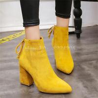 Fashion Stiefeletten Damenschuhe Ankle Boots Spitz Zehe Blockabsatz Stiefel Neue