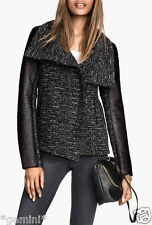 H&M WOOL JACKET with LEATHER SLEEVES WOLLE BIKER JACKE LEDER ÄRMEL SIZE 40 UK 14